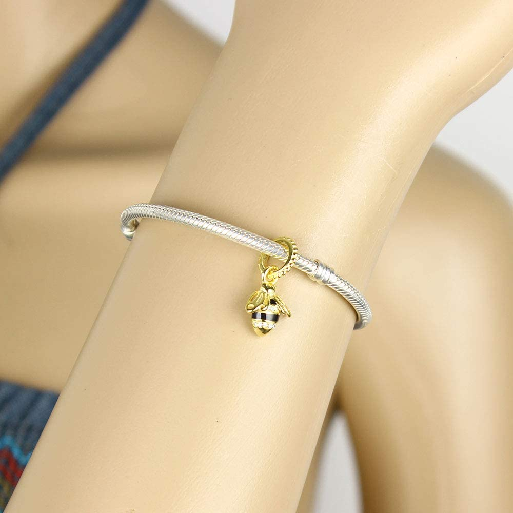 Color: Round Calvas New Fashion Real 925 Sterling Silver Bead Gold Bee Charm Fit Original Charm Bracelet Bangle DIY Jewelry Gifts Necklace Pendant
