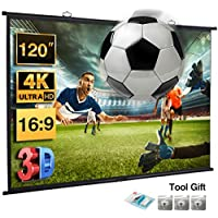 Excelvan 120 Inch Wall-Mounted HD Movie Projector Screen