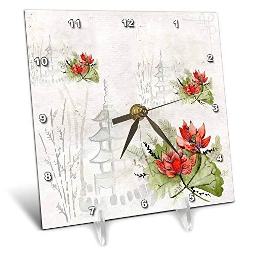 lorene - Watercolor Art - Image of Asian Pagodas and Orange Flowers in Watercolors - 6x6 Desk Clock (dc_295146_1) ()