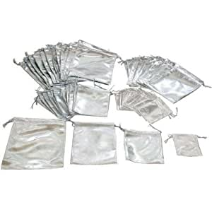 48 Pouches Silver Gift Bags 4 Styles Jewelry Display