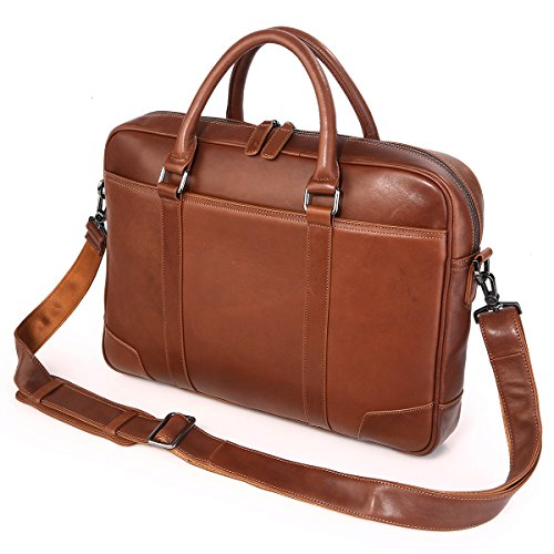 Texbo Genuine Top Cow Leather Business Briefcase Fit 15.6'' Laptop Bag Tote (Brown) by Texbo (Image #1)