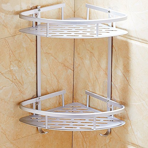 -[ Hawsam No Drilling Bathroom Corner Shelves, Aluminum 2 Tier Shower Shelf Caddy Adhesive Storage
