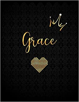 Grace: Black Personalized Lined Journal with Inspirational ...