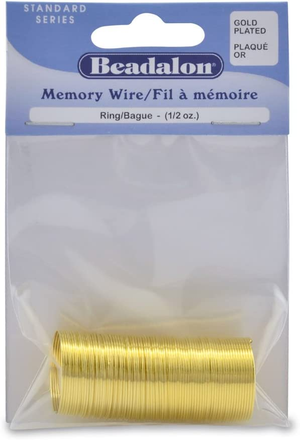 Approximately 99 Loops Beadalon 347A-010 Gold Plated Memory Wire Ring 1//2-Ounce//Pkg