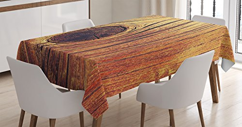 Ambesonne Rustic Home Decor Tablecloth, Life Tree Concept with Divided Core Macro Circles Habitat Natural Wonder Photo, Dining Room Kitchen Rectangular Table Cover, 52 W X 70 L Inches, Burnt ()