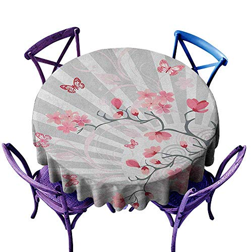 """familytaste Nature,Beach Table Covers D 70"""" Cherry Blooming Butterflies on Stripes Sun Rays Curvy Lines Ornamental Artwork Round tablecloths"""