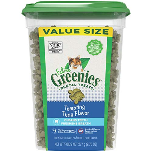 Greenies Feline Natural Dental Care Cat Treats, Tuna Flavor, All Bag Sizes