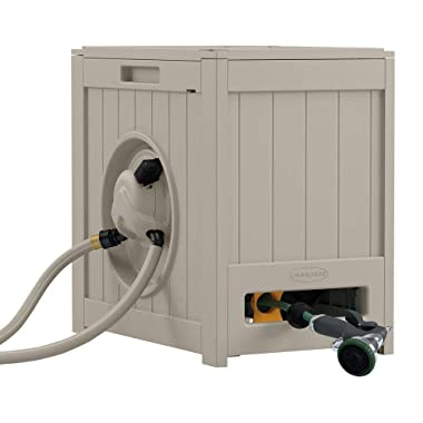 Suncast Aquawinder 125' Garden Hose Reel - Lightweight Portable Hands - Free Water Powered Retractable Hose Reel - Taupe