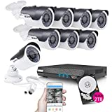 TECBOX 8 Channel Home Security Camera System 720P AHD DVR Recorder 2TB Hard Drive Preinstalled with 8 HD 1.3MP Waterproof Night Nision Indoor/Outdoor CCTV Surveillance Camera