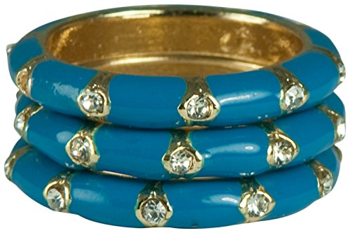 3pcs-ENAMEL AND CRYSTAL STACK GOLD RINGS-BLACK, WHITE, CORAL,GREEN, LIGHT BLUE, DARK BLUE-SIZE-7 ONLY (Blue) ()