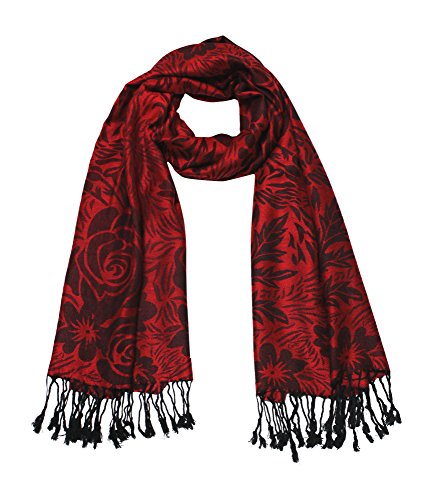 Rose Jacquard Scarf Women's Fashion Shawl Long Soft Accent Wrap In (Ladies Red Rose)