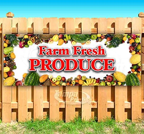 Flag, Many Sizes Available Store New Farm Fresh Vegetables 13 oz Heavy Duty Vinyl Banner Sign with Metal Grommets Advertising