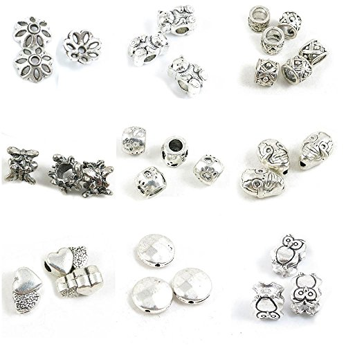 31 Pieces Antique Silver Tone Jewelry Making Charms Owl Loose Beads Polyhedron Heart Skull Paw Prints Butterfly Texture Bear Flower Spacer Bead Caps
