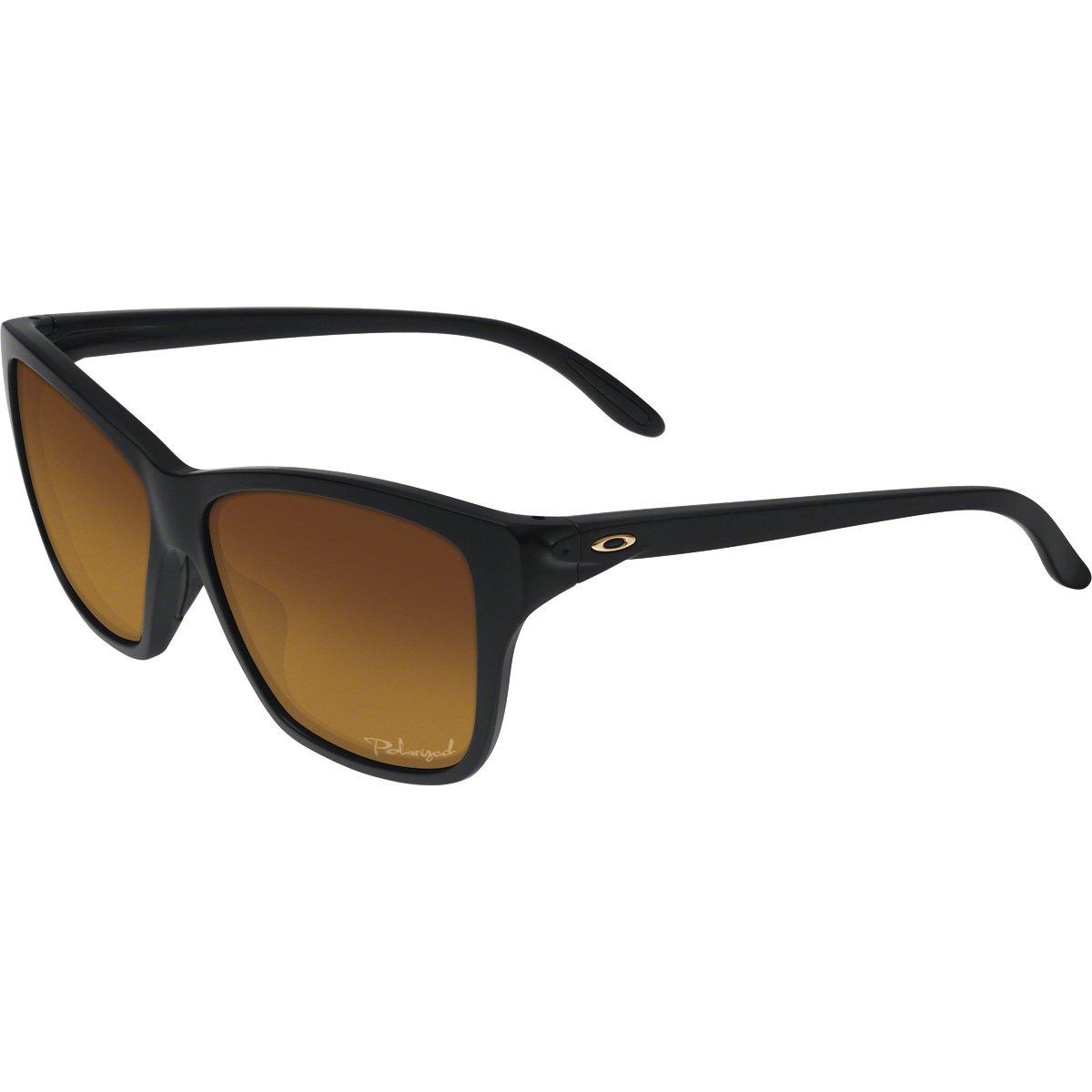 Oakley Women's OO9298 Hold On Irregular Sunglasses, Matte Black/Brown Gradient Polarized, 58 mm by Oakley