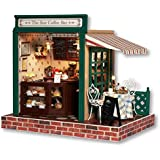 Rylai 3D Puzzles Wooden Handmade Miniature Dollhouse DIY Kit w/ Light-The Star Coffee