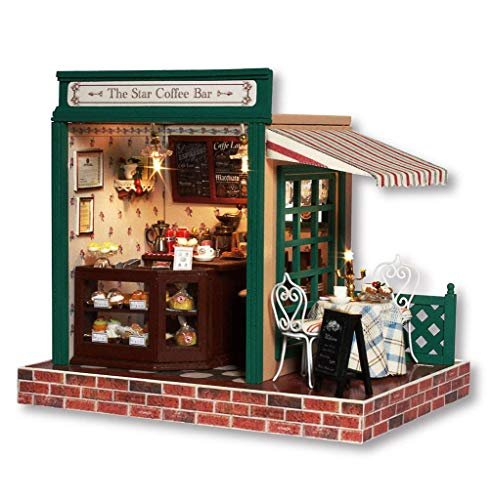 Rylai 3D Puzzles Wooden Handmade Miniature Dollhouse DIY Kit w/ Light-The Star Coffee Bar Series Dollhouses accessories Dolls Houses With Furniture & LED & Music Box Best Birthday Gift (Furniture Doll Handmade)
