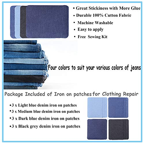SHELCUP 12PCS Four Color Iron on Patches for Clothing Repair , Denim Patches for Jeans Kit,Iron for Inside/Outside Jeans & Clothing Repair-Oval