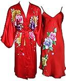 Amazing Grace Hand Painted Silk Kimono & Chemise Sleepwear Pajama Set (Red Floral Set)