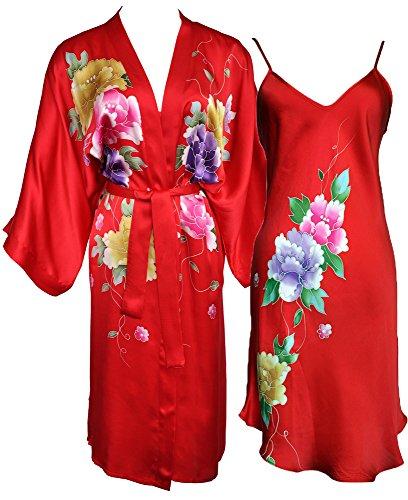 Amazing Grace Hand Painted Silk Kimono & Chemise Sleepwear Pajama Set (Red Floral Set) by Amazing Grace Elephant Company Limited