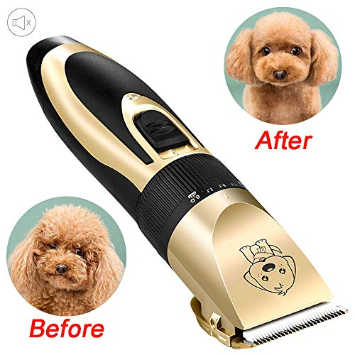 Briday Dog Grooming Kit Clippers, Low Noise, Electric Quiet, Rechargeable, Cordless, Pet Hair Thick Coats Clippers…