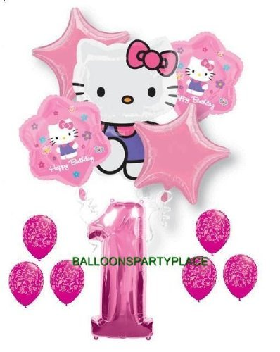 HELLO KITTY PINK PURPLE 1st birthday damask party balloons first supplies girls by Lgp (Hello Kitty 1st Birthday Party)