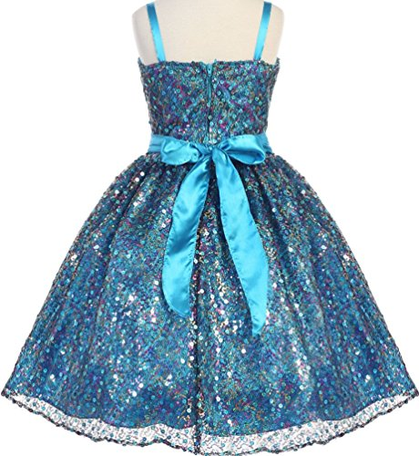 AkiDress Sleeveless Stunning Sequin and Charmeuse Sparkle Flower Girl Dress Gold 2-12
