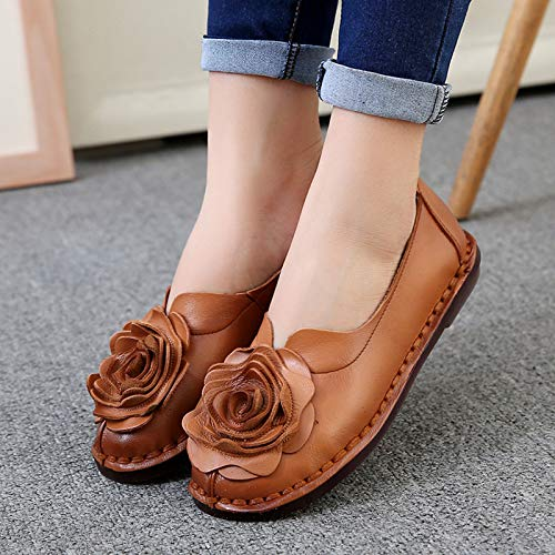 handmade single FLYRCX pregnant shoes Leather shoes sole comfortable work shoes soft flowers B retro women shoes qwqX8rA