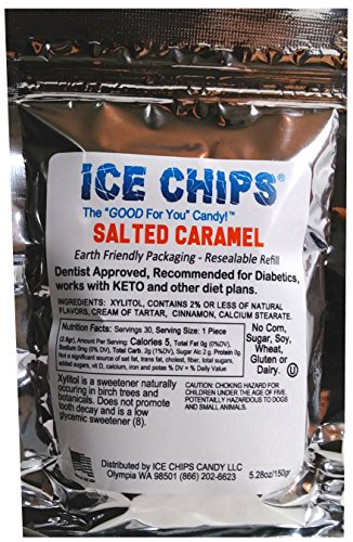 ICE CHIPS Birchwood Xylitol Candy in Large 5.28 oz Resealable Pouch; Low Carb & Gluten Free (Salted Caramel) (Candy Salted Caramel)