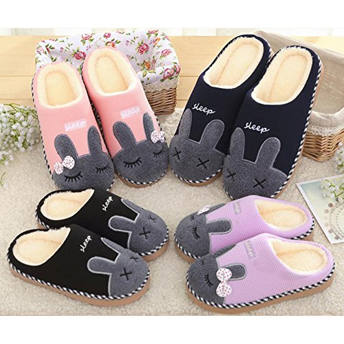 SAGUARO Winter Home Plush Slippers Cotton Warm Faux Fur Slipper Indoor Anti-Slip Shoes for Women Men Brown MQiYctFD3