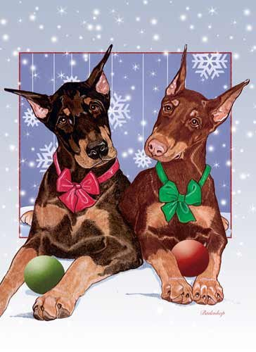Doberman Pinscher Christmas Cards : 10 Holiday Cards with Red Envelopes - ADORABLE!