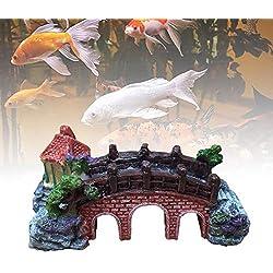 Classic Arch Bridge artificial stone moss silk plants for betta vorcool squidward fish tank hermit crab climbing toys saim bikini bottom aquarium decorations rocks ornament waterfall salt (M)
