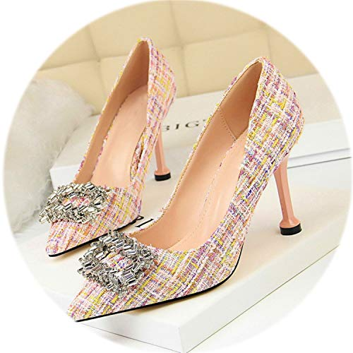 AMAZING AMAZING 2019 New Korean Costume Tweed Women's High Heels 9cm Shoe Fashion Crystal Buckle Shallow Women Pumps,Pink,8 -