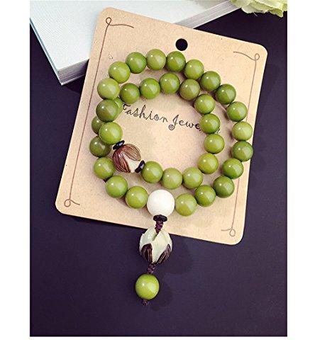 Green Bodhi Seed Mala Necklace