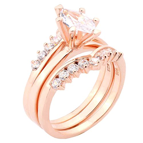 20ct-marquise-shape-cz-rose-gold-plated-sterling-silver-925-engagement-3-pieces-ring-set-size-7