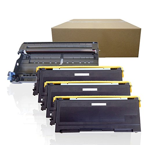 Inktoneram Compatible Toner Cartridges & Drum Replacement for Brother TN350 DR350 DR-350 TN-350 HL-2030 HL-2040 HL-2070N DCP-7020 IntelliFax 2820 2910 2920 MFC-7220 MFC-7225N MFC-7820N (DR,3-TN,4PK) ()
