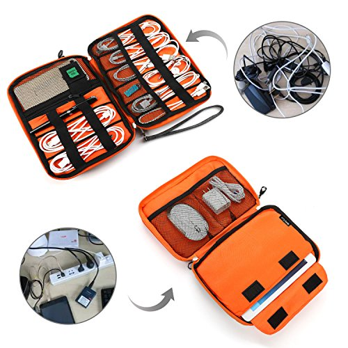 Electronics Organizer, Jelly Comb Electronic Accessories Cable Organizer Bag Waterproof Travel Cable Storage Bag for Charging Cable, Cellphone, Mini Tablet (Up to 7.9'') and More (Orange and Gray) Photo #7