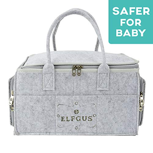 ELFGUS Baby Diaper Caddy | Portable Nappy Changing Organizer | Storage Bin for Baby Essentials for Newborn | Nappy Storage Basket for Baby | Infant Nursery Bag for Shower Gifts |Baby Wipes & Kid Toys ()