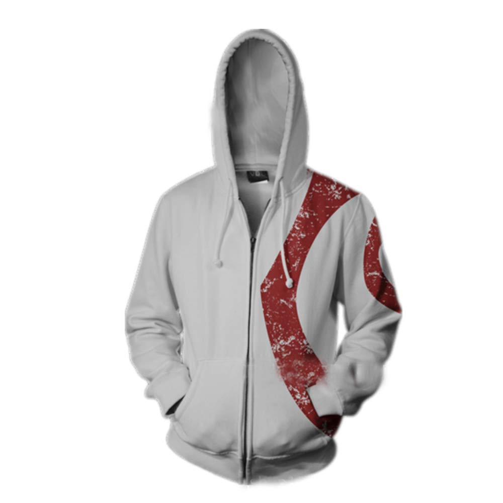WWANGYU Uomo God of War Stampa Felpe Hoodies Casual Poliestere Felpe Felpe con Cappuccio Outdoor Travel Felpa