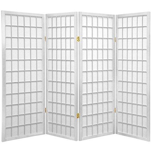 Oriental Furniture 4 ft. Tall Window Pane Shoji Screen - White - 4 Panels(B) ()