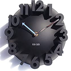 GCA 3D Big Digital Modern Contemporary Home Office Decor Round Quartz Wall Clock Black