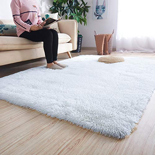 Noahas Ultra Soft Shaggy Area Rugs Fluffy Living Room Carpet Bedroom Fur Rug Anti-Skid Child Playing Mat Home Decor, 5.3 x 7.5 Feets White (Fuzzy Rug Fur White)