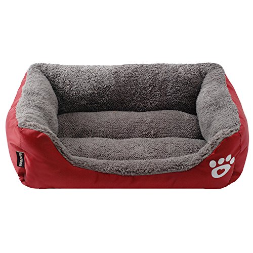 Cat Cage General Cage (Spring Fever Ultra-Soft Paw Print Pet Water Resistant Rectangle Orthopedic Snuggle Dog Cat Warm Pet Bed I Red S (17.311.84.7 inch))