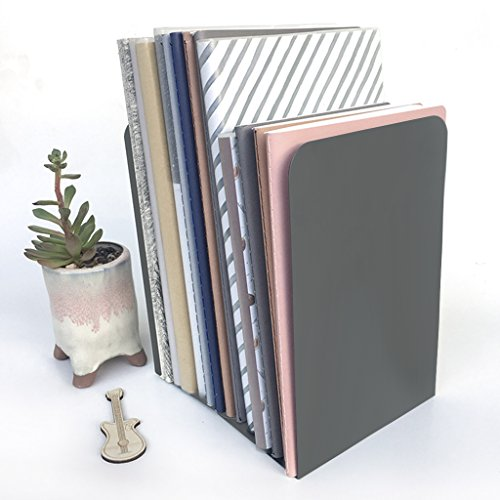 Solid Color Metal Bookends,Decorative Book Ends Desktop Book Organizer Rack For Library School Office Bedroom, Desk Study Gift,Non-Slip,1 Pair by BXT