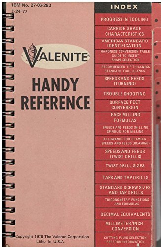 Used, Valenite Handy Reference for sale  Delivered anywhere in USA