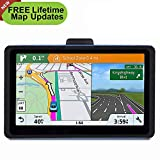 Car GPS, 7 inch Portable Navigation System for Cars, Lifetime Map Updates, Real Voice Turn-to-Turn Alert Vehicle GPS Sat-Nav, On-Dash Mount, Sun Shade