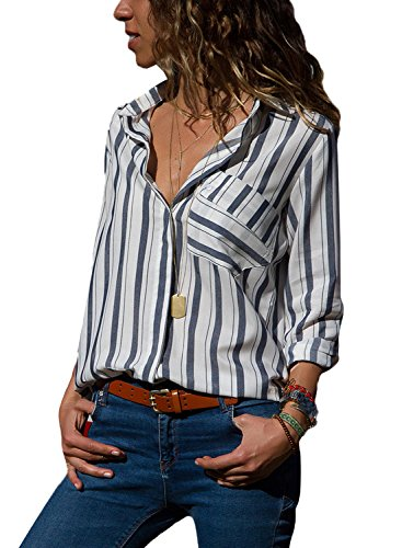 HOTAPEI Womens Casual V Neck Striped Chiffon Blouses Long Sleeve Button Down Shirts Tops with Front Pockets