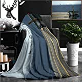 Nalagoo Unique Custom Flannel Blankets Old Boat On Lake Wood Dock Crescent Lake Washington State Usa Black American Ducks In The Backgr Super Soft Blanketry for Bed Couch, Twin Size 80'' x 60''