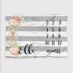 Personalized Month Milestone Baby Blanket - Grey Stripe Floral