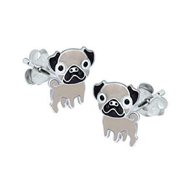 Black Pug Earrings - Sterling Silver a74q6J8y