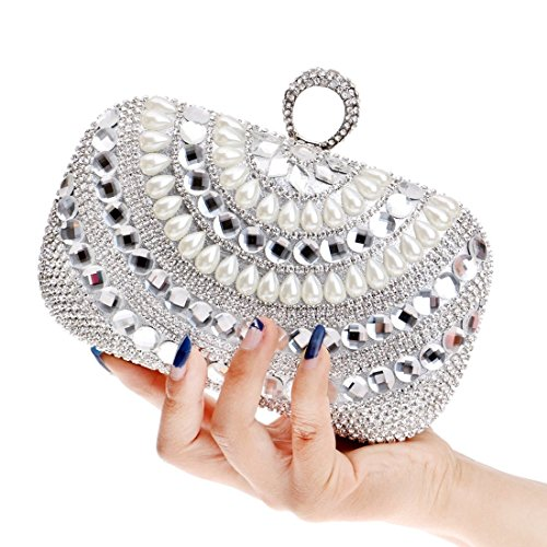 Evening Mini Crossbody Fashion bag Clutch Bag evening Banquet Dinner Pearl Silver Gown Bag Fly Shoulder Silver Bridal Color x4HIvv